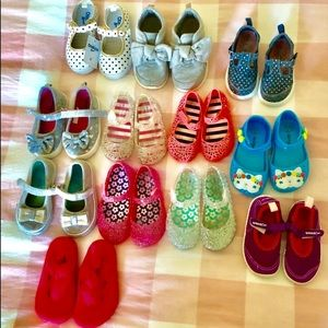 $12 for 11 pairs Sizes 5/6 (minus polka dot shoes)